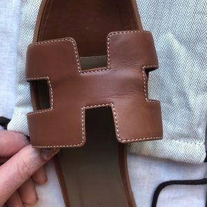 Hermes Shoes - Hermes Oran Gold Sandals